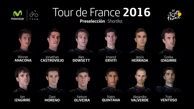 I dodici Movistar in lizza per il Tour de France © Movistar Team