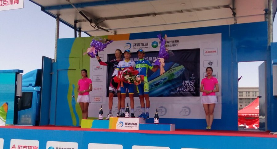 Il podio della cronometro del Tour of Qinghai Lake @ Baku Cycling Project