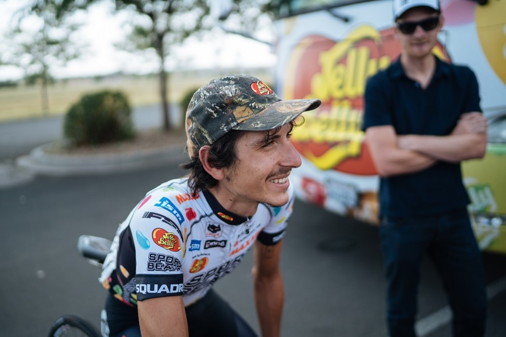 Lachlan Morton in maglia Jelly Belly © Kevin Batchelor