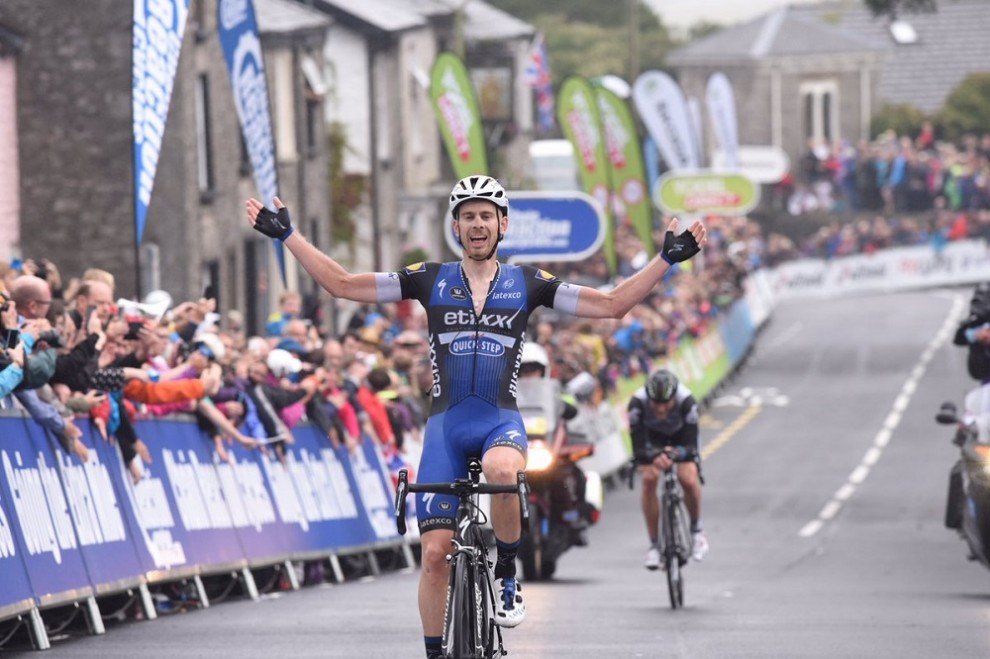 Julien Vermote festeggia a Kendal © Tour of Britain