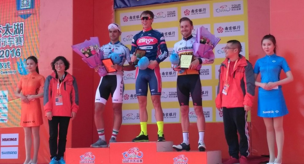 Il podio del prologo del Tour of Taihu Lake © Twitter