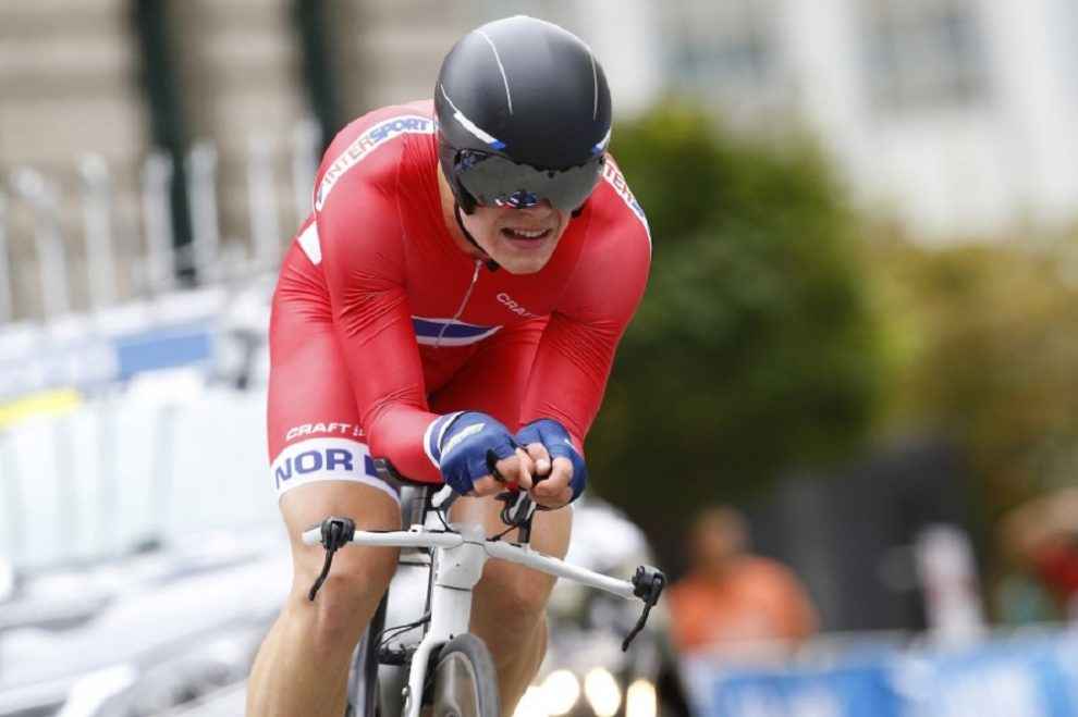 Truls Engen Korsaeth impegnato nella cronometro al Mondiale under 23 di Richmond 2015 © Bettiniphoto