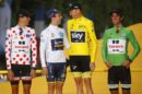 Le maglie del Tour de France 2017: Warren Barguil, Simon Yates, Chris Froome e Michael Matthews © Bettiniphoto