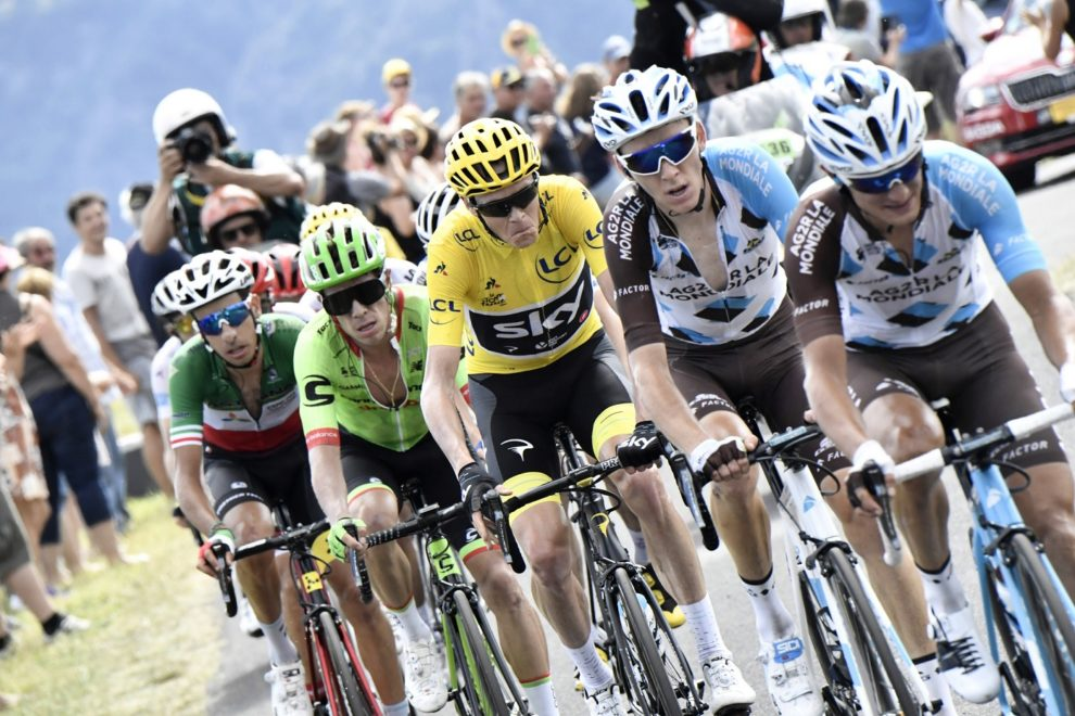 Romain Bardet, Chris Froome, Rigoberto Urán e Fabio Aru uno in fila all'altro © Bettiniphoto