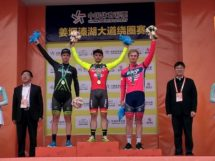 Il podio della sesta tappa del Tour of Taihu Lake © Minsk Cycling Club