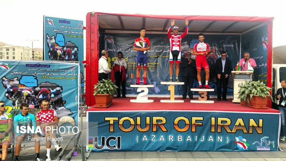 Il podio della terza tappa del Tour of Iran © Farshid Raoofi - Isna Photo