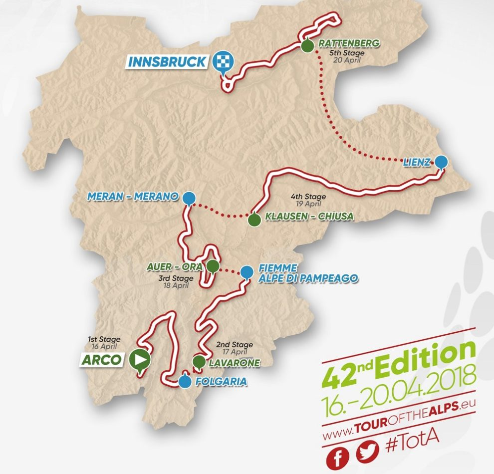Il percorso del Tour of the Alps 2018 © Tour of the Alps