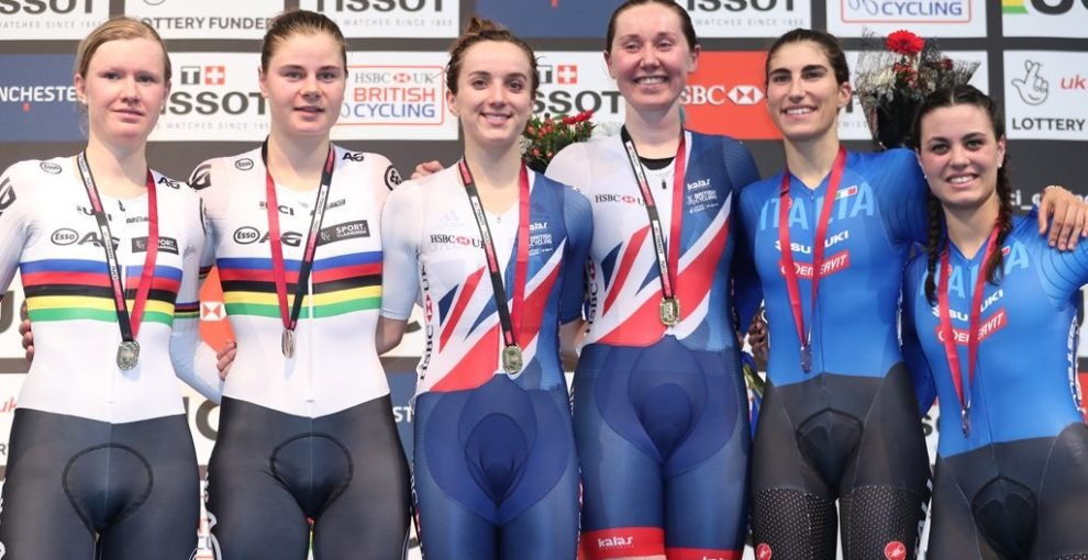 Balsamo e Barbieri sul podio della Madison a Manchester © British Cycling