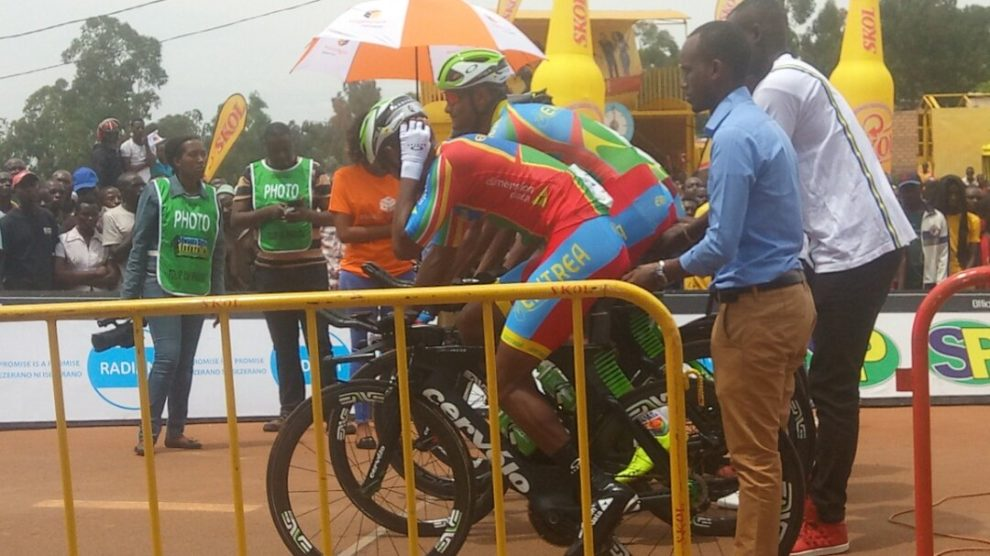 The quartet of Eritrea at the start of the African Championships © Twitter