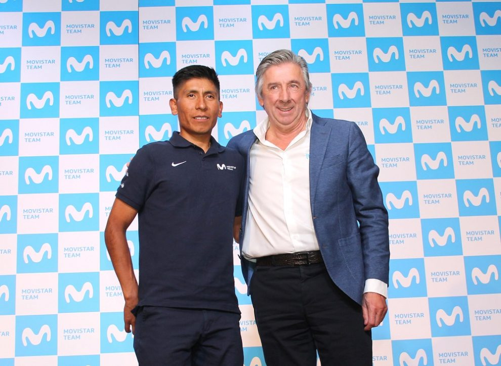 Nairo Quintana e Eusebio Unzué in conferenza stampa © Movistar Team
