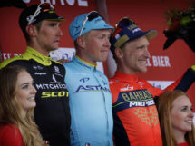 Michael Valgren tra Roman Kreuziger ed Enrico Gasparotto sul podio dell'Amstel Gold Race 2018 © Team Bahrain-Merida - Bettiniphoto