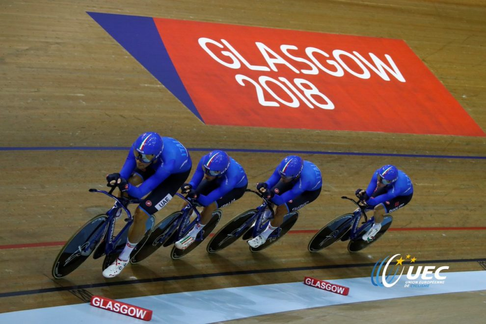 Il quartetto maschile in gara agli Europei di Glasgow © UEC - Bettiniphoto