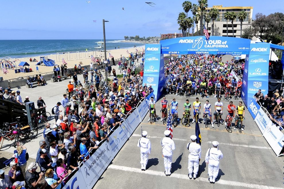 I corridori prima del via di tappa al Tour of California © Tour of California