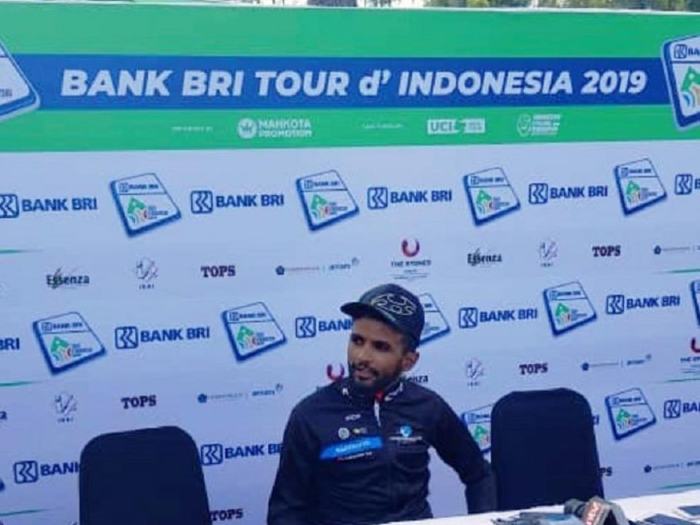 Metkel Eyob answers questions after winning the Tour of Indonesia © Facebook