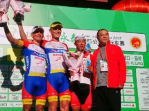 Il podio della prima tappa del Tour of Fuzhou © Tour of Fuzhou