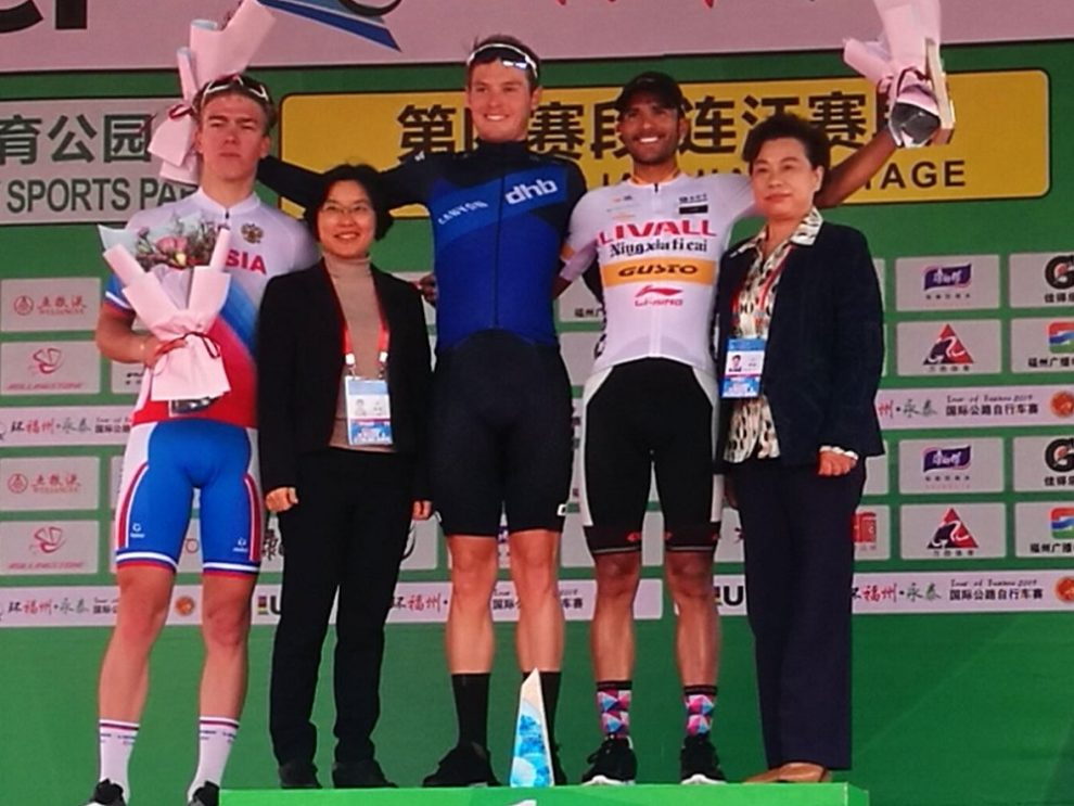 Il podio al termine della quarta tappa del Tour of Fuzhou © Tour of Fuzhou